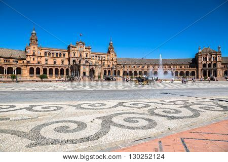 Seville Spain -3 May 2014: famous Plaza de Espana. Old landmark.