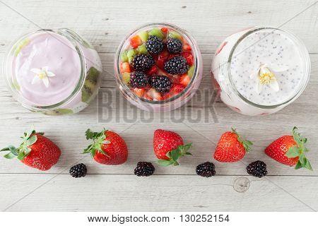 Yogurt With Strawberries And Blackberries