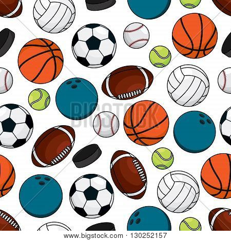 Team games sporting seamless pattern of ice hockey pucks with balls for soccer and american football, basketball and baseball, volleyball, tennis and bowling over white background. Great for sports competition theme or fabric design