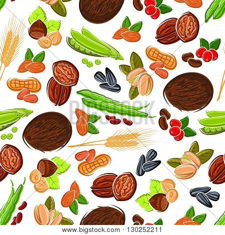Seamless cartoon fresh and roasted coffee beans, almonds and peanuts, hazelnuts and pistachios, walnuts and coconuts, pods and grains of sweet peas and beans, sunflower seeds and wheat ears pattern on white background