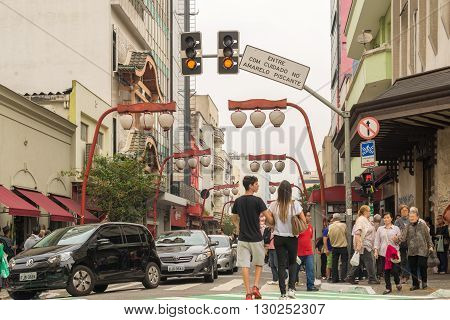 Sao Paulo - MAY 07 2016 - Bairro da Liberdade famous district oriental located in the city of São Paulo Japanese and other Asian immigrants reside.