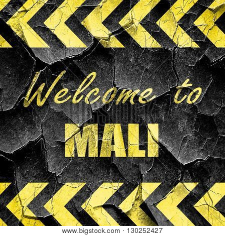 Welcome to mali, black and yellow rough hazard stripes