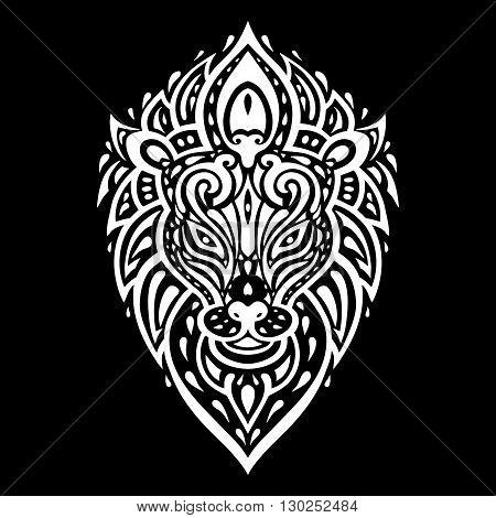 Lions head Tribal pattern. Polynesian tattoo style. Vector illustration.