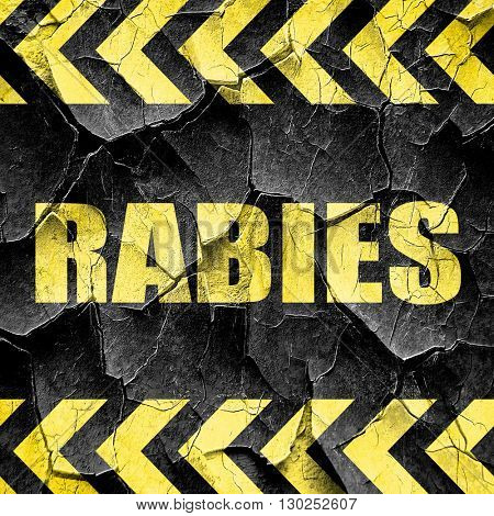 rabies, black and yellow rough hazard stripes