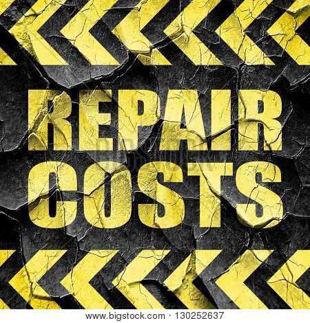 repair costs, black and yellow rough hazard stripes