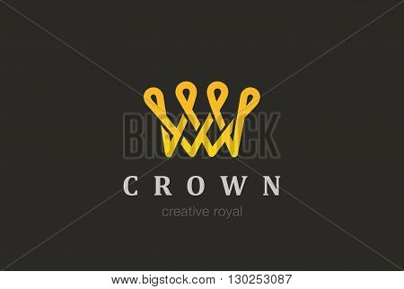 Crown abstract Logo vector Vintage Looped Logotype concept icon.
