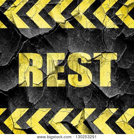 rest, black and yellow rough hazard stripes
