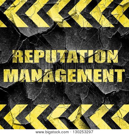 reputation management, black and yellow rough hazard stripes