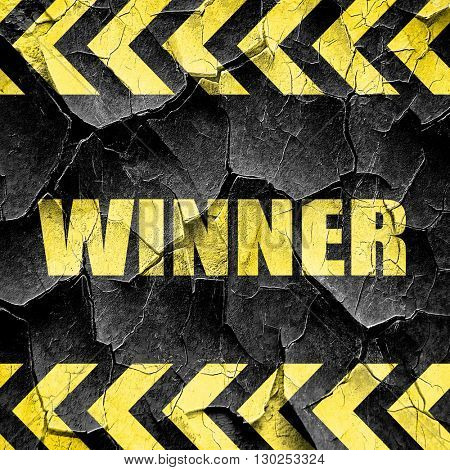 winner sign background, black and yellow rough hazard stripes