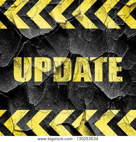update sign background, black and yellow rough hazard stripes