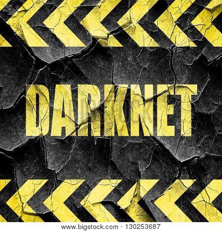 Darknet internet background, black and yellow rough hazard strip