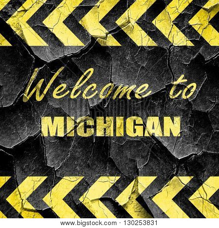 Welcome to michigan, black and yellow rough hazard stripes