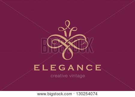 Vintage Logo vector Vignette luxury fashion jewelry concept icon