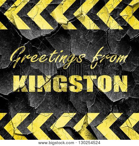 Greetings from kingston, black and yellow rough hazard stripes