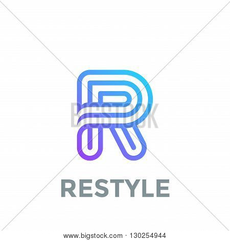 Letter R Logo design vector template. Font Lines Logotype