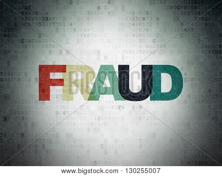 Safety concept: Painted multicolor text Fraud on Digital Data Paper background