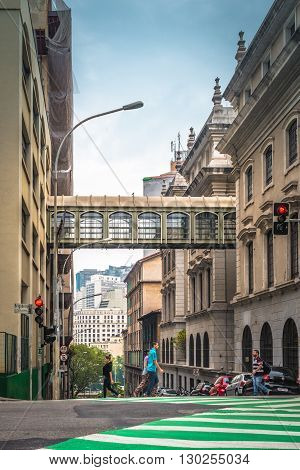 Sao Paulo - MAY 07 2016 - Corner at Brigadeiro Avenue and Riachuelo Street in Downtown in the city of Sao Paulo and background buildings