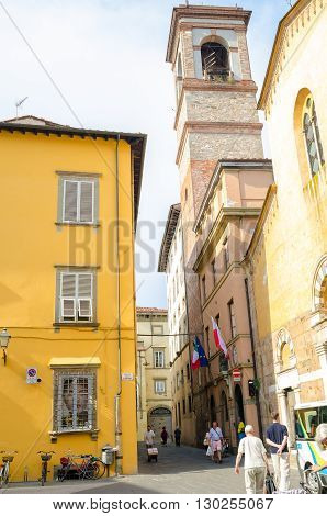 LUCCA ITALY - JUNE 13 2014. Narrow street in medieval fortress of Lucca Puccini' s home town.