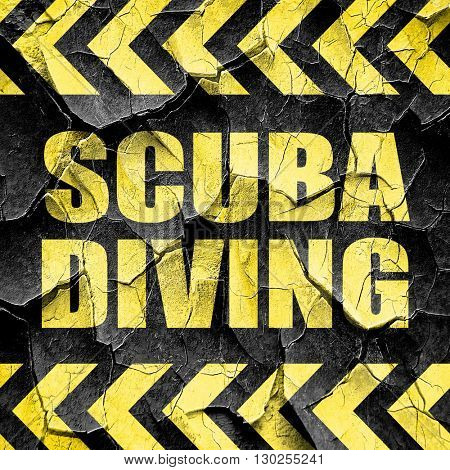 scuba diving, black and yellow rough hazard stripes