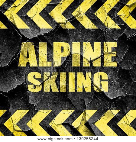 alpine skiing sign background, black and yellow rough hazard str