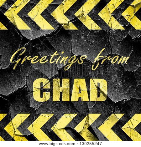 Greetings from chad, black and yellow rough hazard stripes