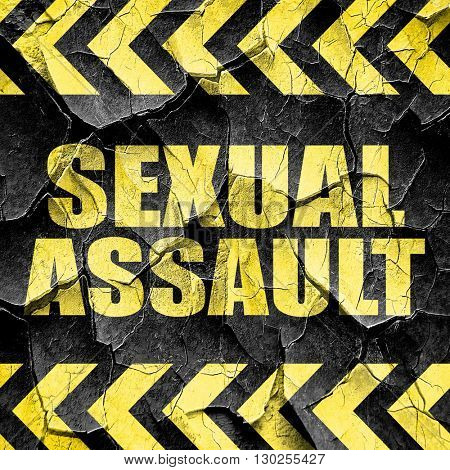 sexual assault, black and yellow rough hazard stripes