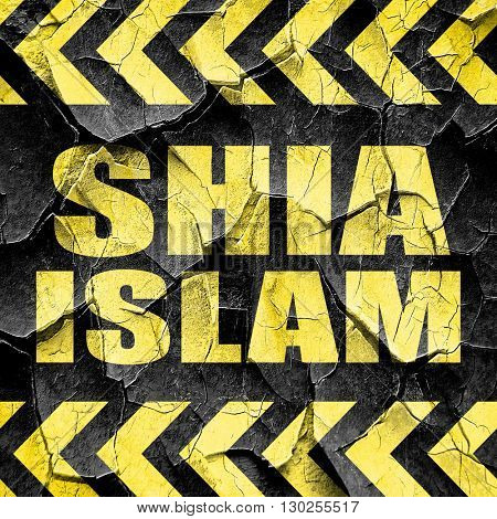 shia islam, black and yellow rough hazard stripes