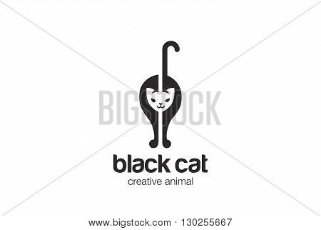 Black Cat silhouette Logo vector Negative space Home pet icon