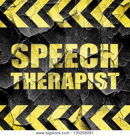 speech therapist, black and yellow rough hazard stripes