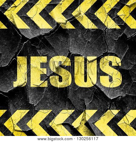 jesus, black and yellow rough hazard stripes