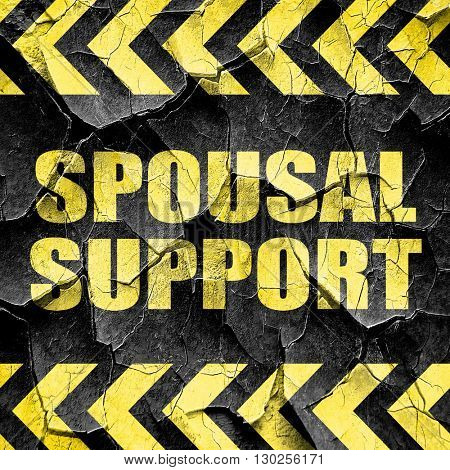 spousal support, black and yellow rough hazard stripes