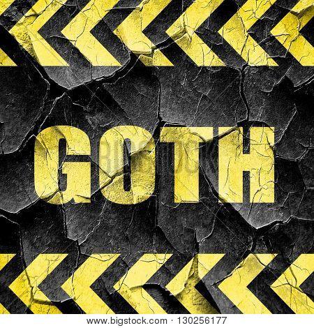 goth, black and yellow rough hazard stripes