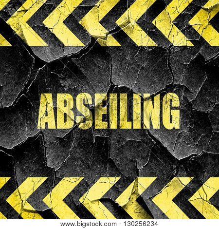 abseiling sign background, black and yellow rough hazard stripes