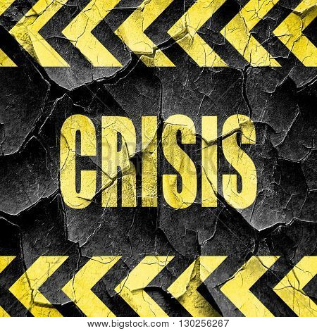 Crisis sign background, black and yellow rough hazard stripes