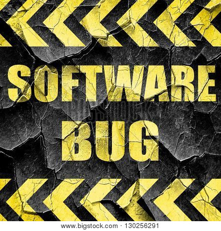 Software bug background, black and yellow rough hazard stripes