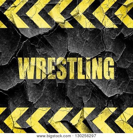 wrestling sign background, black and yellow rough hazard stripes