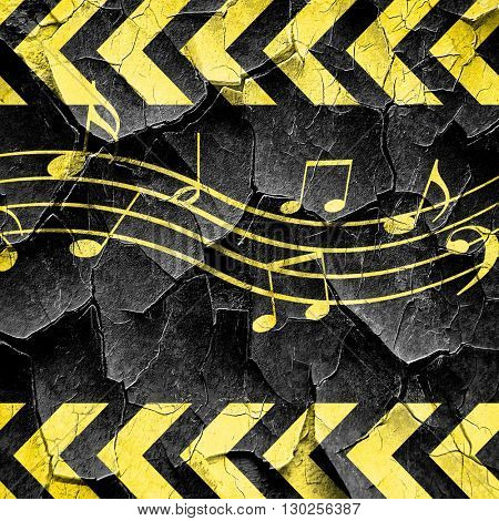 Music note background, black and yellow rough hazard stripes