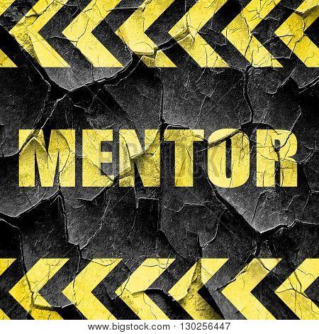mentor, black and yellow rough hazard stripes