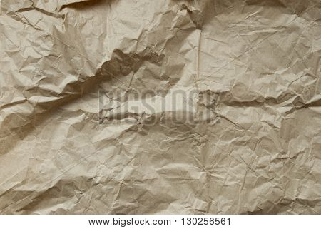 Brown Crumpled Paper As Texture Or Background. Rustic, Vintage Or Retro Styple. Copy Space For Advertisement Or Your Free Text Here