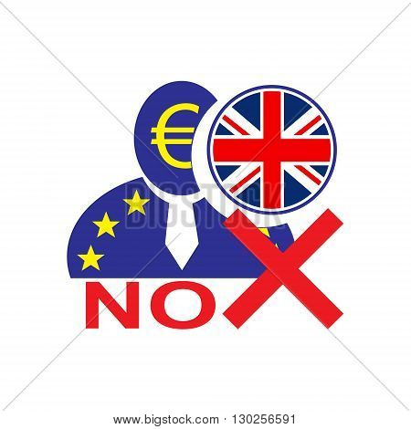 European union man icon with euro symbol and United Kingdom flag symbolizing the Britain leaving the EU. Brexit. No vote in referendum.