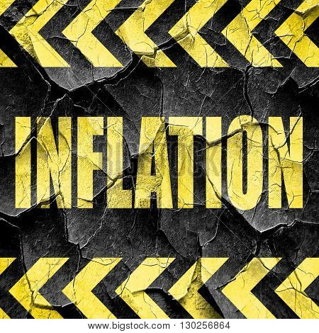 Inflation sign background, black and yellow rough hazard stripes