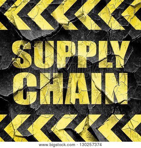 supply chain, black and yellow rough hazard stripes