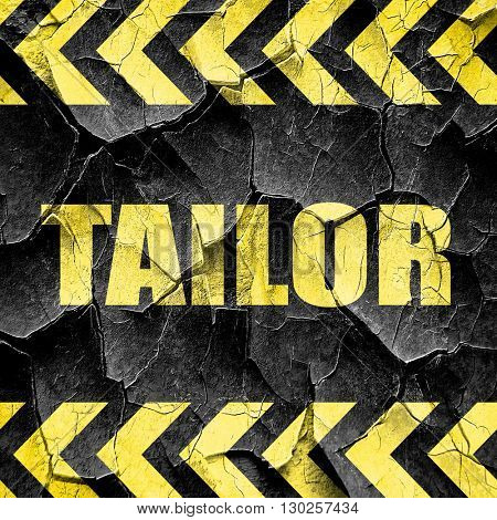 tailor, black and yellow rough hazard stripes