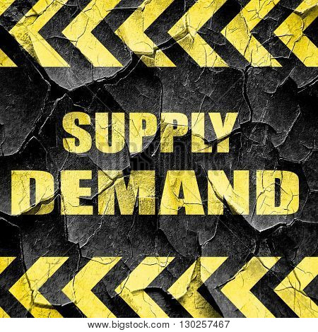 supply and demand, black and yellow rough hazard stripes