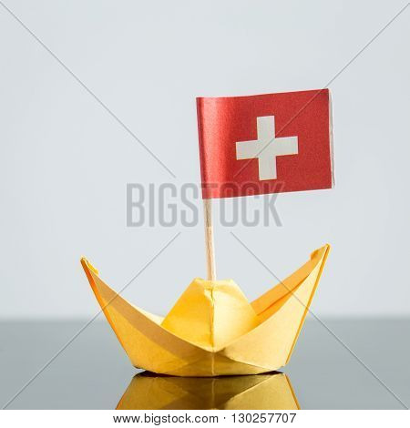 Paper Ship With Swiss Flag