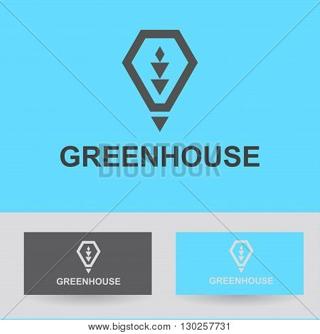 Business Icon - greenhouse, vector logo concept illustration lamp, heat, light green. Organic logo. Ecology logo. Leafs logo. Bio logo. Nature organic logo. Agriculture logo. Vector logo template.