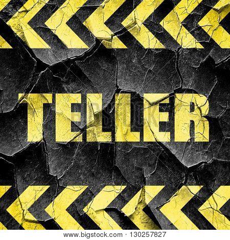 teller, black and yellow rough hazard stripes