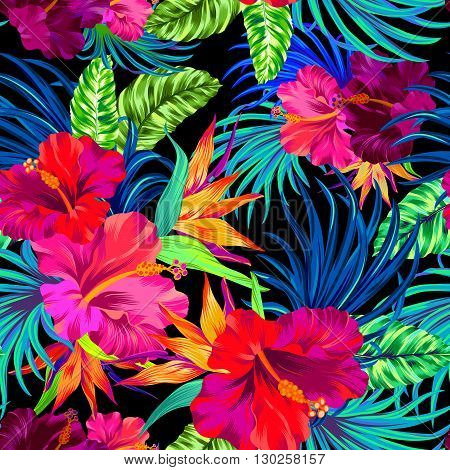 seamless vector pattern with hibiscus palms tropical flowers and leaves. Colorful vibrant art illustrations with amazing details and very intensive colors. Busy allover layout with summer botanical flowers. Design for fashion swimwear interior stationery.