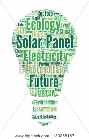 Solar panel word cloud concept with a white background