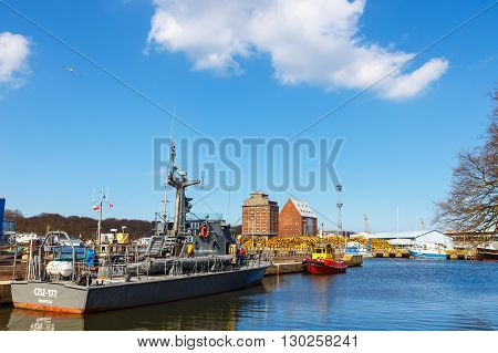 Kolobrzeg, Poland - April 08, 2016: View On Harbor In Kolobrzeg With Many Moored Boats And Ships. Ko